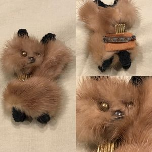 Vintage genuine Mink Dog pin/brooch